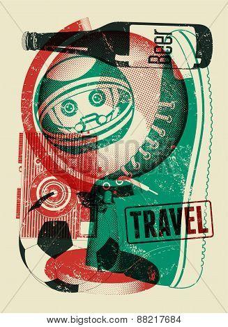 Typographical retro grunge travel poster. Vector illustration.