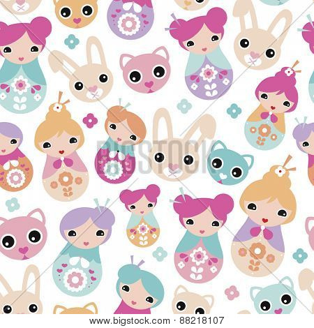 Seamless adorable Japanese geisha girls bunny cats and cherry blossom illustration background pattern for kids in vector