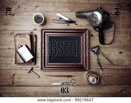 Vintage Tools Of Barber Shop And Picture Frame