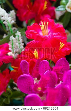 Colorful Artificial Lily And Orchid Flowers For Decoration