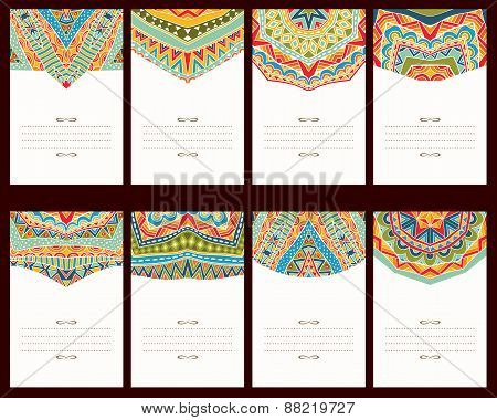 Set Of 8 Cards With Oriental Ornaments