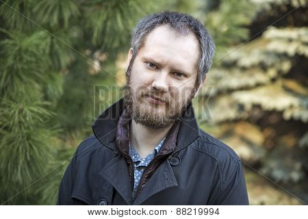 Portrait Of Handsome Russian Man, Outdoor