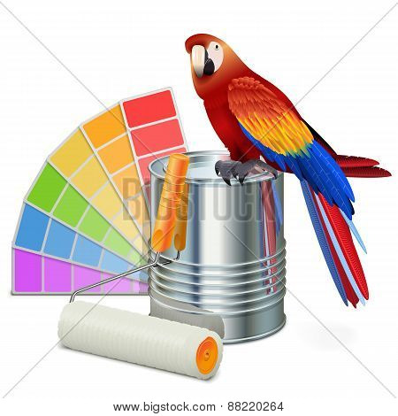 Vector Paint Concept With Parrot