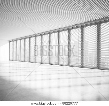 Empty Sunny Open Plan Interior. 3D Rendering