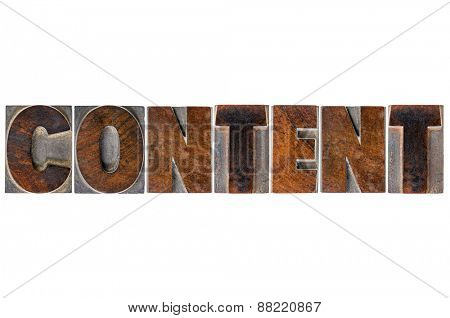 content word typography - isolated text in vintage letterpress wood type printing blocks