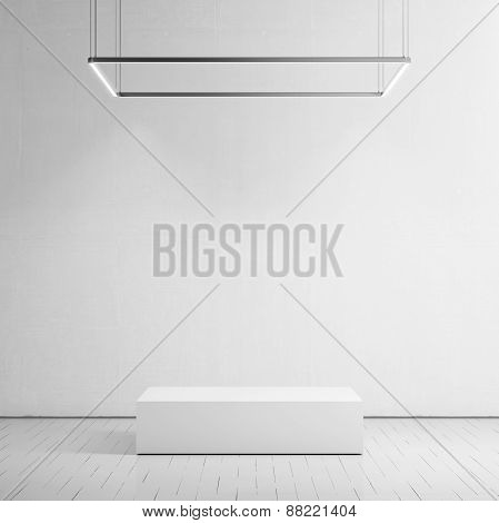 White Room With Podium. 3D Rendering
