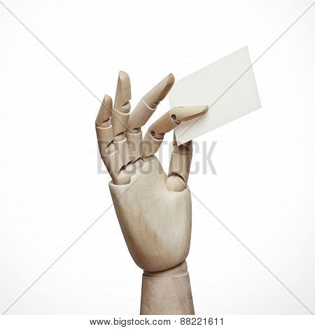 Wood Hand Holding Business Card