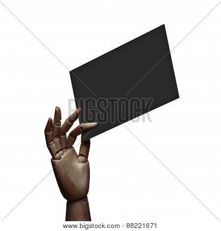 Dark Wood Hand Holding Black Page