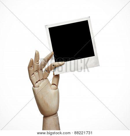 Wood Hand With Polaroid Frame