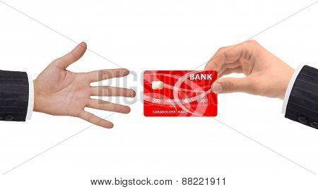 Hand And Red Card Isolated On White Background