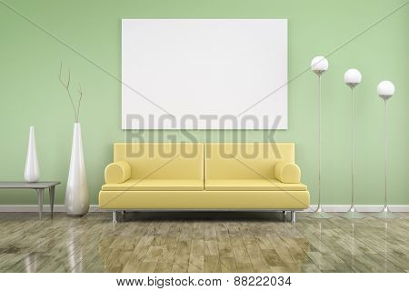 3D rendering of a green room with a yellow sofa