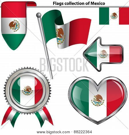 Glossy Icons With Flag Of Mexico