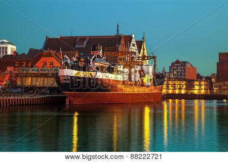 Old Freighter At Night