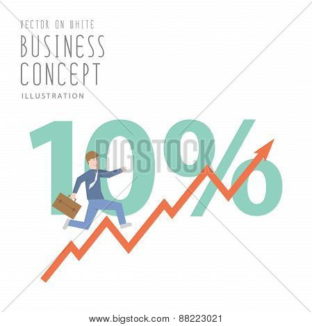 Businessman Run Up Stock Graph Growing Chart Flat Vector.