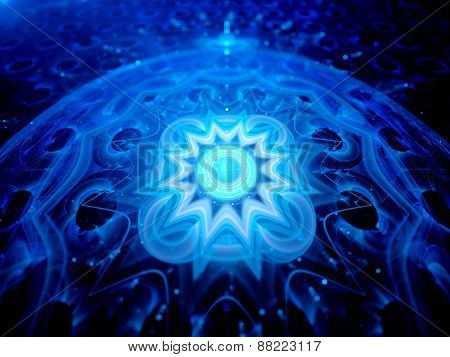 Blue Glowing Magical Space Mandala 3D