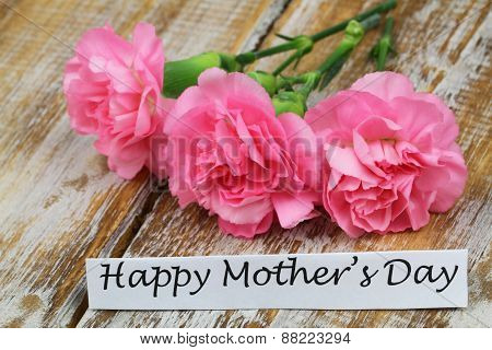 Happy Mother's day card with pink carnation flowers
