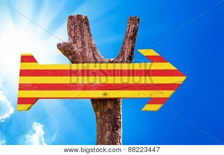 Catalonia Flag wooden sign with sky background
