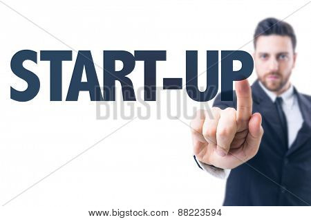 Business man pointing the text: Start-up