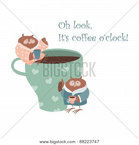 Cute owl with coffee mug