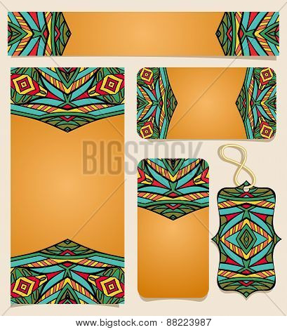 Set Of Printable Cards With Bright Mexican Pattern