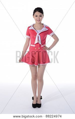 Active girl wear professional attire in front of a white background