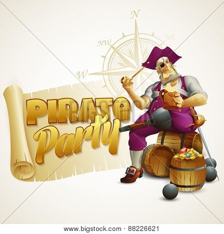 Pirate party poster. Vector illustration