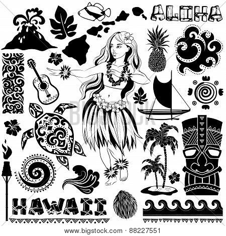 Vector Retro set of Hawaiian icons and symbols