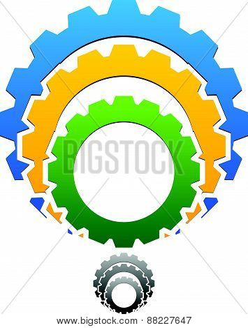 Gear-gearwheel Icon, Emblem With Tricolor And Grayscale Versions Included