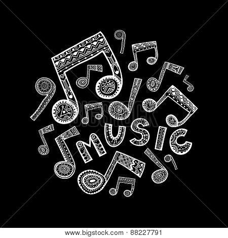 Music Circle - Black And White