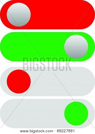 Power On-off Switches, Buttons In Red And Green. Simple Ui-interface Element Set