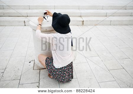 Tourist Photographing On Sightseeing Tour