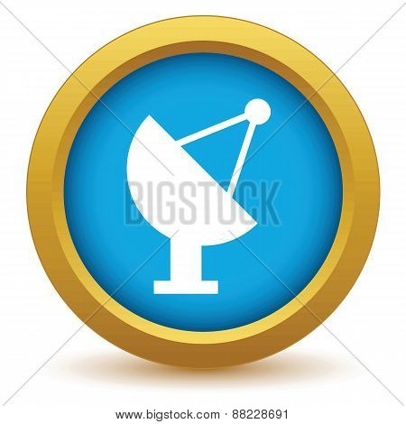 Gold satellite antenna icon