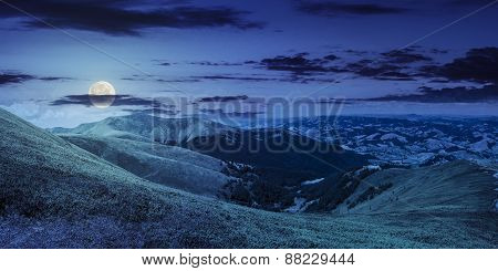 Summer Green Meadow In Mountain Panorama At Night