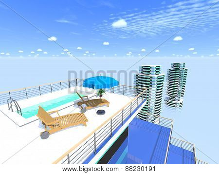 Swimming Pool On The Roof Against The Sky.