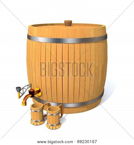 Wooden Barrel With Wine And Wooden Clubs.