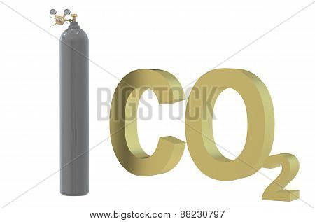Pressure Regulator With Reducing Valve On Gas Cylinder With Carbon Dioxide
