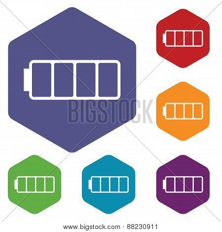 Empty battery rhombus icons