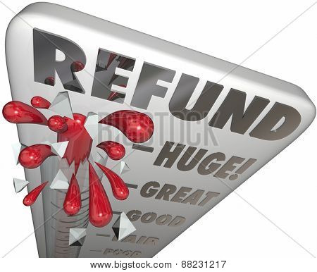 Refund word on a thermometer to measure or illustrate tax return money back or savings on a purchase or merchandise
