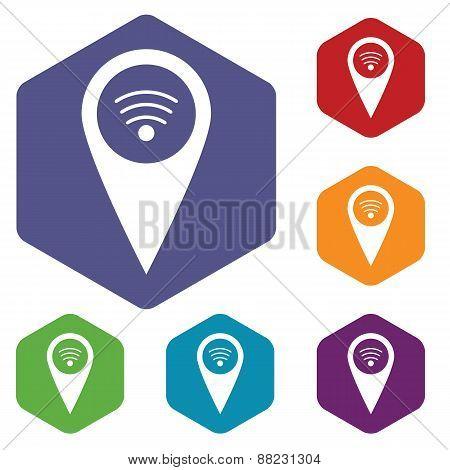 Wi-fi pointer rhombus icons