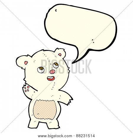cartoon cute waving polar bear teddy with speech bubble
