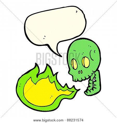 cartoon fire breathing skull with speech bubble