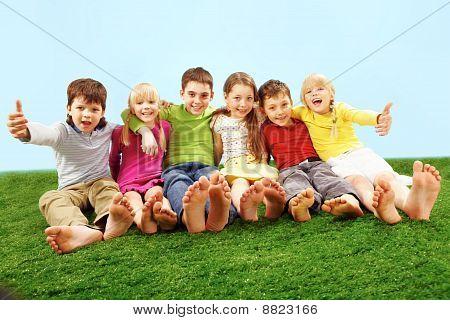 Children on grass