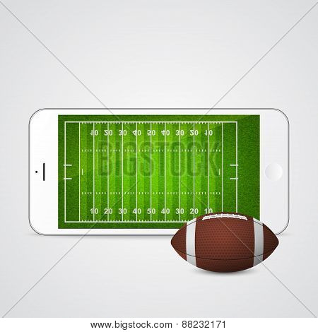 Vector Smartphone With Football And Field On The Screen.