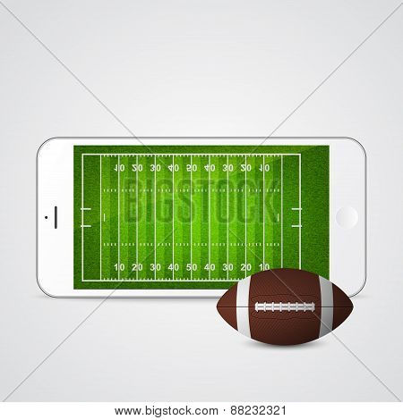 White Smartphone With Football And Field On The Screen.