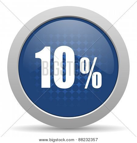 10 percent blue glossy web icon