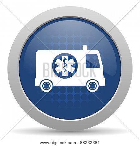 ambulance blue glossy web icon