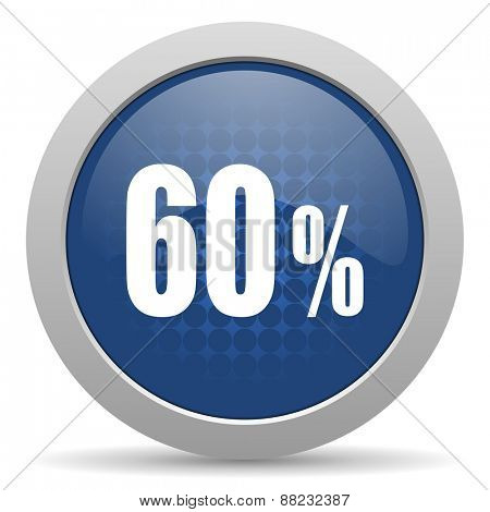 60 percent blue glossy web icon
