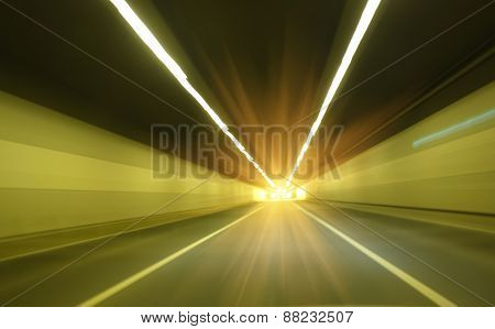 modern road tunnel with light