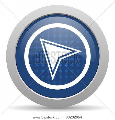 navigation blue glossy web icon