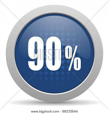90 percent blue glossy web icon